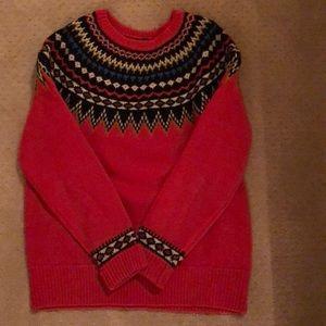 J. Crew orange patterned wool sweater